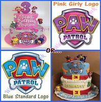 PAW PATROL LOGO PINK OR BLUE EDIBLE ICING SHEET BIRTHDAY CAKE TOPPERS DECORATION