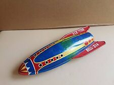 Vintage tinplate friction Meteor Bell-314 rocket spaceship toy, made in Italy