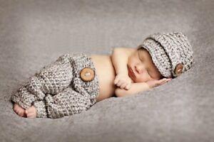 Baby Newborn Hat & Pants Set - Photo Props - 0-3 Months