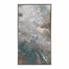 Modern Art Abstract Thunderstorm Painting | Gray Blue Gold White Silver Frame