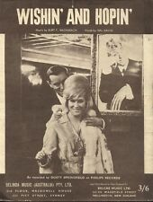 "DUSTY SPRINGFIELD  Rare 1963 Aust Only Orig Pop Sheet Music ""Wishin' And Hopin"""