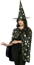 Ladies Midnight Witch Glow In The Dark Halloween Fancy Dress Costume Outfit Kit