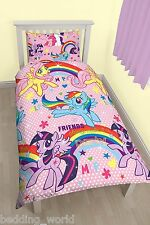 SINGLE BED MY LITTLE PONY PARTY DUVET COVER SET UNICORN RAINBOW PINK POLKA DOTS