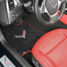NEW! BLACK FRONT FLOOR MATS 2014-2018 CORVETTE C7 Flags Logo With RED Binding