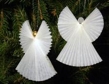 Anges de Noël blanc anciens décoration pour sapin de Noël vintage - lot de deux