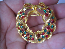with Red and Green Rhinestones Festive Holiday Wreath Brooch, Gold-Tone