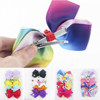 6 PCS/Set Lovely Rainbow Printed Knot Ribbon Bow Hair Chip For Kids Girls Lots
