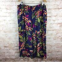 J Jill Womens Blue Floral Tropical Cropped Capri Elastic Waist Pants Size XL