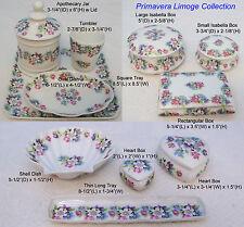 "French Limoge ""Primavera"" Tray Apothecary Jar Trinket Box Dish Heart Tumbler Cup"