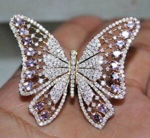 Cyber Monday 3.96ct ROUND DIAMOND AMETHYST 14K WHITE YELLOW GOLD BUTTERFLY RING