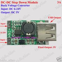 USB DC-DC Buck Step Down Converter  6V-24V 9V 12V to 5V 3A Power Supply Module