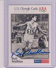 RARE 1992 OLYMPIC BOB MATHIAS DECATHLON AUTOGRAPH CARD #1 ~ USA CERTIFIED AUTO