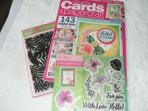 Simply cards magazine with 2 dies, flamingo stamps, embossing folder 14 in 1 kit