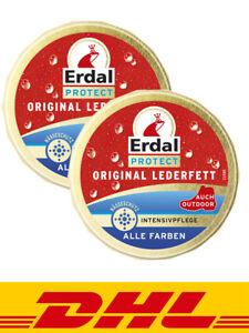2x Erdal Protect Original Lederfett-Alle Farben, Intensivpflege mit Nässeschutz