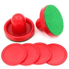 Red Air Hockey Felt Pushers Red Pucks Goalie Sticks Handles Strikers Paddle 9L