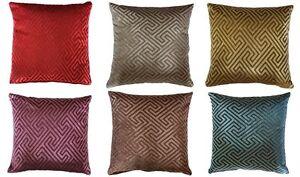 """Greek Key Design Chenille Velvet Print 16"""" X 16"""" Cushion Covers Pillow Sofa Bed"""