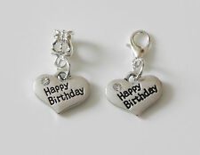 ANTIQUE SILVER HAPPY BIRTHDAY CHARM BAIL BEAD OR LOBSTER CLIP CHOICE