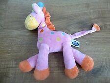 Doudou peluche girafe MOTS D'ENFANTS rose orange coeurs