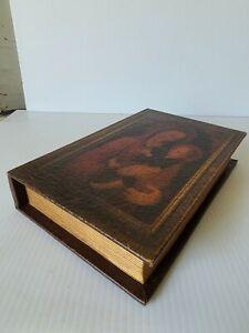 Vintage Distressed Leather Book Secret Stash Box Lined