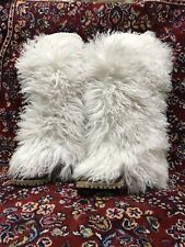DOLCE & GABBANA D & G White Winter Boots Shoes Real Fur Leather 40