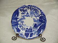 "Royal Crown Derby BLUE MIKADO Scalloped Teacup Saucer ~5-3/4"" Gold Trim"