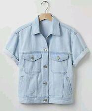Gap Women's Light Indigo Short Sleeve Rolled Denim Jacket Size M
