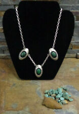 #1 SIGNED NAVAJO STERLING MALACHITE SHADOWBOX SQUASH BLOSSOM NECKLACE OLD PAWN