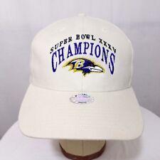 Super Bowl XXXV Champions Strapback Hat Vtg Baltimore Ravens Cap Ivory Deadstock