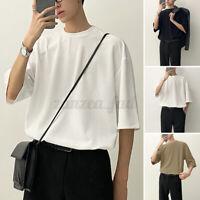Herren Kurzarm Casual Shirt Rundhalsausschnitt Loose Baggy Tee Bluse T-Shirt DE