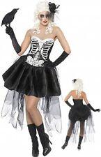 Ladies Skeleton Fancy Dress Costume Halloween UK 12- FREE SATIN GLOVES