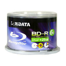 300-PK RITEK RIDATA 6X WHITE INKJET HUB PRINTABLE BD-R BLU-RAY BLANK DISC