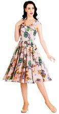 V-Neck Floral Dresses for Women's 1950s