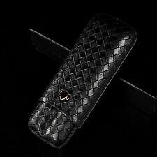 COHIBA Black Leather Holder 2 Tube Travel Cigar Case Humidor