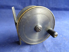"A SUPER VINTAGE 2 1/2"" UNNAMED GUNMETAL BRASS TROUT FLY REEL"