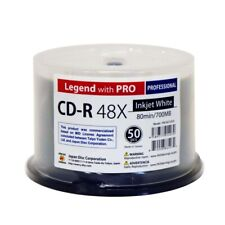 50 CD-R Legend with Pro Taiyo Yuden TY 700MB White Inkjet Printable Blank Disc