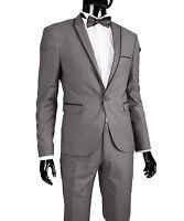 Slim Fit Herrenanzug in Grau Spitzrever -Smoking-Anzug-Hochzeit-Bühne-Sakko