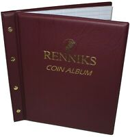 Renniks Coin Album RED + 6 Pages + Interleaves Holds 227 Coins New Condition