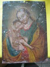 Original Antique Retablo On Tin Saint Joseph With Christ Child 10' By 14'