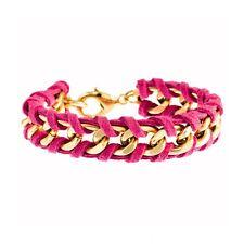 NEW TIMI Jewelry Fuchsia/Gold Suede Cord Chain Bracelet -65% OFF