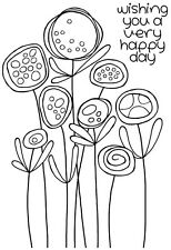 Woodware Clear Singles Rubber Stamp - Circle Flowers JGS492