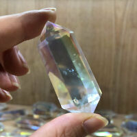 1*AB Color Aura Rainbow White DT Tower Point Quartz Crystal Obelisk Wand Healing