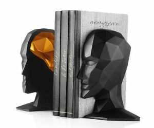 Human Face Bookends Black Man Head Office Decoration Resin Craft
