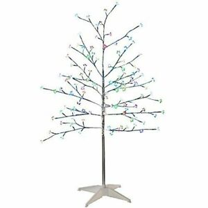 Silver Twig Tree with LED Blossoms 5ft (150cm) - Christmas Tree with Lights