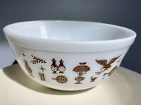 Vintage PYREX Early American White w Brown Mixing Bowl 403 2.5 Qt Excellent