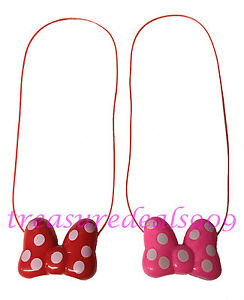 2 pc Minnie Mouse LED Light Up Pink Red Bow Necklace Flashing Blinking Halloween