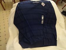 NAUTICA LUXURY PERFORMANCE MENS V-NECK BLUE COTTON + MODAL SWEATER NWT LARGE-XL