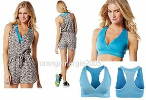 Zumba 2Pc.SET!! Official Fun Edgy Romper Shorts + Mid Level V Bra RARE! S M L XL