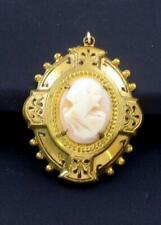 Vintage CAMEO pendant brass setting shell Cameo Victorian?