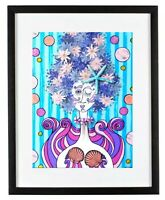 Agave Sea Nymph Nereid 11x14 Matted Art Print Mermaid Girl Flower Starfish Ocean