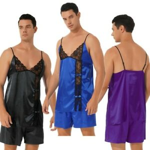 Sissy Sleepwear Men Sexy Lingerie Satin Lace Trim Vest with Shorts Set Pajamas